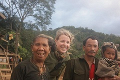 Karlee Taylor with a family in Laos